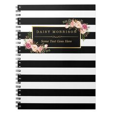 Girly Beautiful Floral Wrapping Gold B&W Stripes Notebook