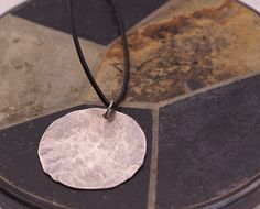 Mens Hammered Sterling Silver Disc Necklace by BalsamrootRanch.com