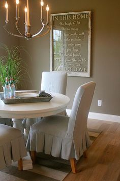 Breakfast Room -painted table and neutral color scheme