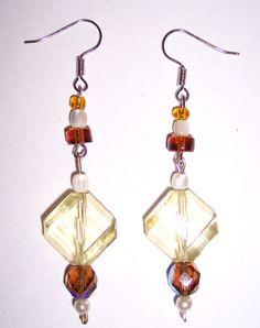Handmade Beaded Earrings Light Yellow & Amber Glass & Freshwater Hippie ECO NEW