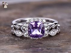 2pcs 6.5mm Cushion Amethyst Engagement ring set,petite white gold plated,925 sterling silver stacking thin wedding band,Women Halo ring,Man Made diamond CZ ring,any size - Wedding and engagement rings (*Amazon Partner-Link)