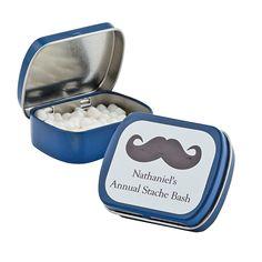 Personalized Blue Mustache Mint Tins - OrientalTrading.com