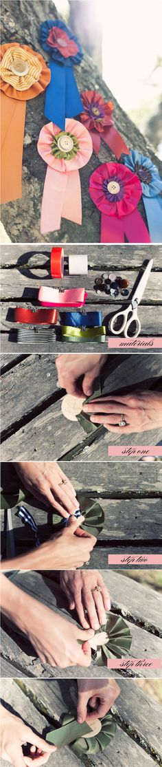 #DIY #Ribbon Medallions adorable and PUUUR-fect for a sweet backyard wedding