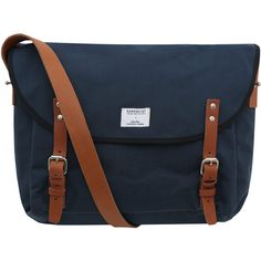 Sandqvist Navy Erik Messenger Bag (670 BRL) ❤ liked on Polyvore featuring bags, messenger bags, purses, messenger bag, genuine leather messenger bag, courier bag, laptop messenger bag and leather bags