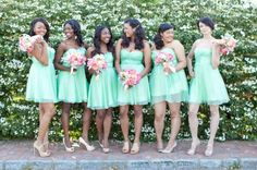 "I finally figured out exactly what ""color"" it is that i've been wanting for my wedding. Its called seafoam mint green"""