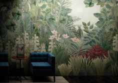 high quality Jungle wallcovering Boscage by Glamora Italy, exclusive wallpaper in vinyl, wet system and acoustic material Vinyl Wallpaper, Washable Wallpaper, Room Wallpaper, Casa Milano, Architectural Materials, Country Interior, Funky Furniture, Minimalist Interior, Boho Decor