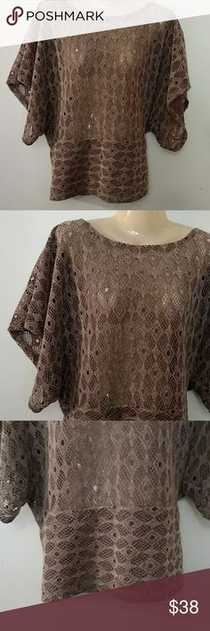 MOCHA  LACE TOP ~~ NWOT Design as Shown New :) Cocoa Brown in Color Body Central Tops