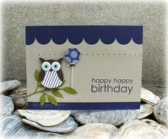 blue owl Birthday card