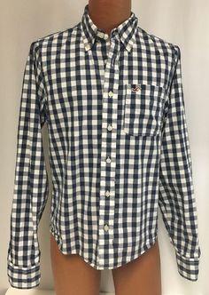 Hollister Shirt L Men's Blue Large Check Button Down Back To School Preppy…