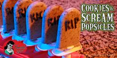 """Stay as """"Cool as a Corpse"""" with Cookies and Scream Tombstone Popsicles! Halloween Sweets, Halloween Foods, Halloween Cookies, Holidays Halloween, Halloween Party, Zombie Party, Popsicle Recipes, Macabre, Popsicles"""