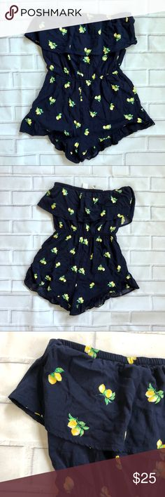 {Mimi Chica} Strapless Lemon Romper Strapless romper in size M.  🌿Excellent used condition  For more great items be sure to check my closet! Mimi Chica Pants Jumpsuits & Rompers