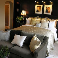 black gray and gold bedroom