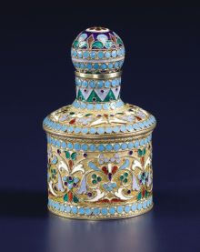 A Russian Silver Gilt and Cloisonné Enamel Perfume Bottle. PetrPavlovich Milyukov, Moscow, Russia. Circa 1896.