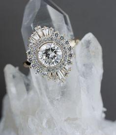 Deco Starburst Engagement Ring Made with a family diamond, this unique engagement ring was inspired by art-deco and gatsby-esque design.Made with a family diamond, this unique engagement ring was inspired by art-deco and gatsby-esque design. Trendy Fashion Jewelry, Fashion Jewelry Necklaces, Art Deco Jewelry, Jewelry Rings, Fine Jewelry, Jewelry Design, Resin Jewellery, Dainty Jewelry, Silver Jewelry