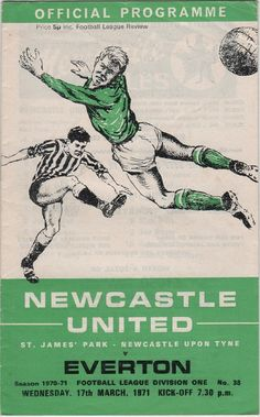 Vintage Football Programme - Newcastle United v Everton, 1970/71 season
