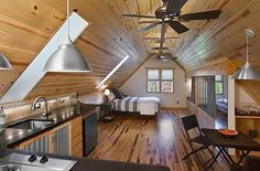 """""""Attic Studio Apartment www.icreatived.com"""" See Dev? We could do something like this :) Storage might be an issue, but we can get a big wardrobe, hang a clothesline and hang stuff on that, stack some cubes from ikea or bookshelves for shelf space..."""