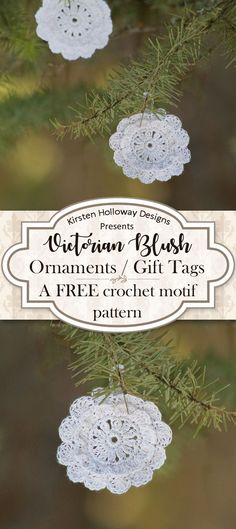 "Quickly crochet a cute flower motif, that will double as a ""snowflake"", with these simple instructions. This free, vintage-style, crochet pattern is easy, fun and makes a festive, DIY decoration for gifts, or your Christmas tree! You could even string the"
