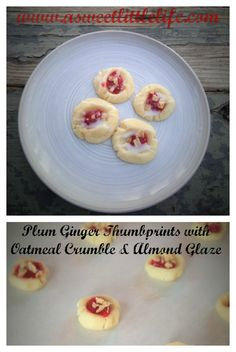 Homemade Plum Ginger Jam is the star of this soft, buttery almond shortbread sprinkled with oatmeal crumble and a drizzle of almond glaze.
