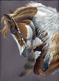 Profile of a Gorgeous American Indian Chestnut Paint Painted War Pony.