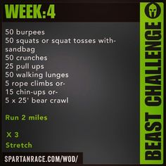 Spartan Training: Beast Challenge (Week 4)