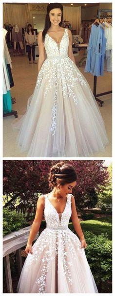 V Neck Prom Dress,Lace Prom Dresses,Sexy Prom Dress,Formal Dress 2016,Evening Dress,ball gown prom dresses