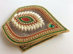 Traditional Bridal colors Five petals Matka shapes by Kalakruti Kalash Decoration, Thali Decoration Ideas, Diy Diwali Decorations, Festival Decorations, Wedding Decoration, Hand Work Embroidery, Beaded Embroidery, Diwali Craft, Diwali Diya