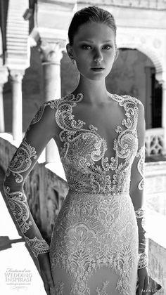 alon livne 2017 bridal long sleeves plunging sweetheart neckline full embroidered elegant glamorous sheath wedding dress keyhole back sweep train (caroline) zv #bridal #wedding #weddingdress