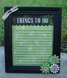 A cute idea for a dry-erase board. I saw one on Instructables that used tea-stained paper for the backing; I think I want to do something similar.