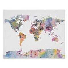 Van de de wereldkaart van Watercolour abstract de Poster