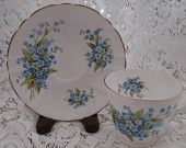 Vintage Stanley Fine Bone China Blue Cup And Sauce Set