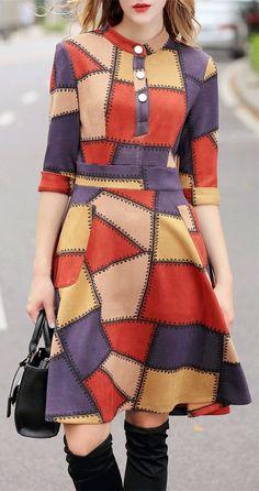 Color Block Suede Dress