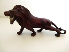 Vintage Hand Carved Wooden African Figurine, Mahogany Lion