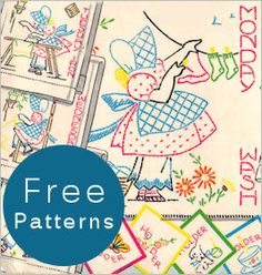 Little Susan Days-Of-The-Week Motifs {1950s}  Free patterns downloadable
