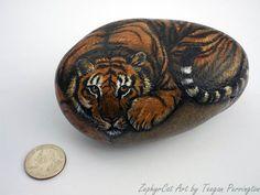 Painted tiger rock, by Teegan Purrington