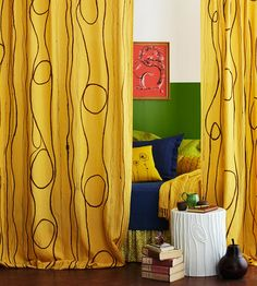 Faux Bois Curtain Panels- Use drop cloth for drapes and washable fabric markers for swirls and loops