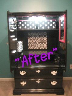 "That's Not Junk...That's My ""New"" Furniture. Girls/Tween/Teen armoire space DYI make-up area, hair station, ect"