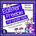Easter for Kinder Kids FREEBIE contains a Glue, Write and Draw Easter Sentence, Sorting ed, en, et words Easter Activity, Patterning Activity and 5...