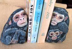 Chimpanzee Painting, Monkey Rock, Hand Painted Stone, Animal Bookend, Garden Ornament, Jungle Art, Monkey Sculpture, Door Stop