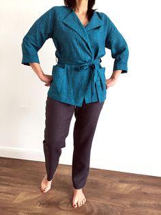 Linen jacket woman, linen cardigan for womens, long sleeve blazer, jacket with belt, kimono jacket,kimono blazer, linen top with pockets