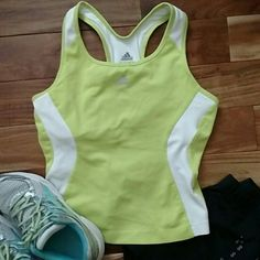 Adidas racerback workout top Climacool workout top with built in bra.  Key pocket in the back. Pre-loved.  Chartreuse and white. Adidas Tops