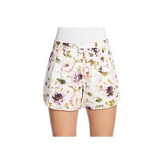 Haute Hippie Floral-Print Silk Shorts ($90) ❤ liked on Polyvore featuring shorts, swan multi, haute hippie, floral printed shorts, flower print shorts, pocket shorts and zipper pocket shorts