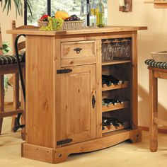 mexican bar cabinet wine rack solid pine glass holder kitchen living room wood