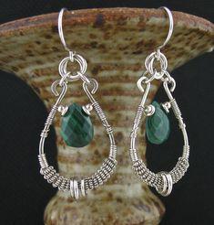 Wire Wrapped Earrings, Green Stone Wrap Earrings, Wire Wrapped Jewelry, Wired Green Malachite Stone Jewelry, Malachite Earrings by LoneRockJewelry on Etsy