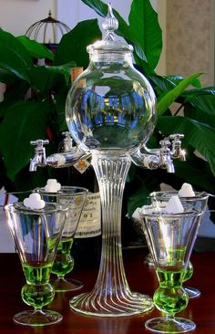 Absinthe Fountain & Glasses & Sugar Spoons