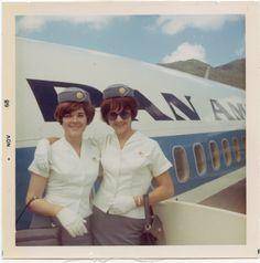1969 November - Pan Am stewardess Susanne Malm & colleague in the doorway of a Boeing 707
