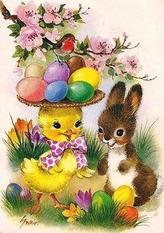 Vintage Greeting Cards – Vintage and antique items Easter Greeting Cards, Vintage Greeting Cards, Vintage Postcards, Easter Art, Easter Crafts, Easter Bunny, Easter Illustration, Diy Ostern, Easter Pictures