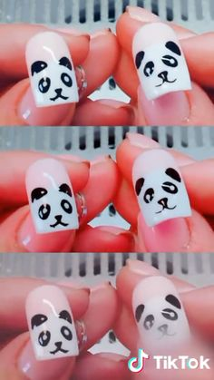 Between the breakthrough nail art and the arrival on the market of ever more innovative nail polishes, it's hard to escape the madness of couture nails. But in the jungle of existing manicures, what to choose and how to navigate? Cute Nail Art, Nail Art Diy, Diy Nails, Cute Nails, Pretty Nails, Panda Nail Art, Animal Nail Art, Nails For Kids, Nail Art Videos