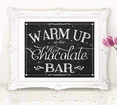 FOR MADE-TO-MATCH ADD-ONS, CLICK HERE: https://www.etsy.com/shop/DaisyHowardDesigns?ref=hdr_shop_menu&section_id=19572378  This Use this for your winter wedding- a hot chocolate bar is the perfect and trendy addition to your special event! This listing is for an 8 x 10 chalkboard sign. You will receive a JPEG and PDF file of both sizes for your convenience. Watermark will not be on final products.  *Please note that this is a digital file and that you will not receive a physical item…