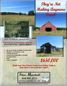 Real Estate For Sale:$650,000-Beautiful 40 Level Pasture View Acres North of Battle Ground Lake with Barns Zoned Ag-20 in Battle Ground, WA! Thanks for sharing Steve Marshall, John L. Scott Vancouver Office!   #RealEstate #ForSaleRealEstate #RealEstateForSale #BattleGroundRealEstate #RealEstateBattleGround #BattleGroundLakeAreaRealEstate #RealEstateBattleGroundLakeArea #FourtyAcres #LevelAcreage #AgriculturalAcreage #ViewAcreage #PastureAcreage #Barns