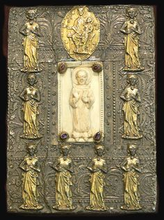 """Book cover to """"Hymni et cursus de St. Stephano"""", Bavaria, 12th/13th century; ivory (St. Stephen) and silver (Mary and eight virgins)."""